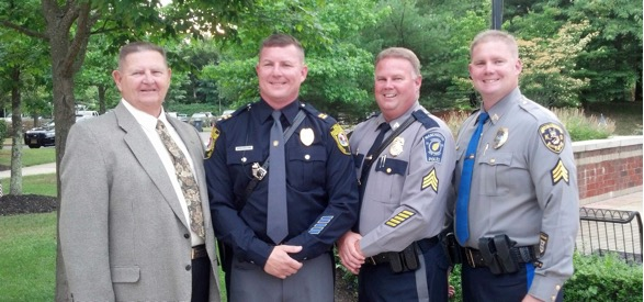 Captain Dellane pictured in an older photo with his three sons. Left to right. Captain Dellane, Current Police Chief Thomas Dellane (Stafford) Sergeant Jimmy Dellane (Retired Manchester) Lieutenant Patrick Dellane (Toms River) (Photo: TRPD)