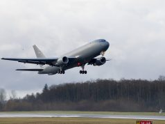 The Boeing KC-46 tanker during a test flight. (Credit: USAF)