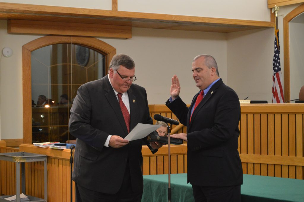 Councilman Kevin Geoghegan is sworn in as council vice president, Jan. 3, 2017. (Photo: Daniel Nee)