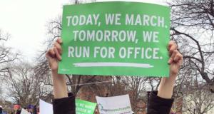 A sign at a protest march, Jan. 2017. (Credit: Ocean County Democrats)