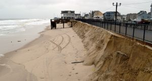 A temporary dune in Ortley Beach decimated by the Jan. 23 nor'easter. (Photo: Daniel Nee)