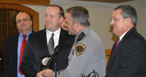 Ptl. DJ Unger is recognized for 15 years with the Toms River Police Department. (Photo: Daniel Nee)