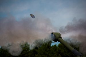 A shell is launched at Joint Base MDL during weapons training. (Credit: Joint Base MDL)