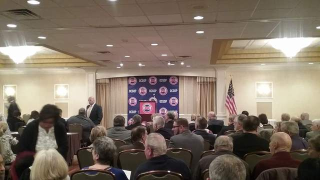 Joseph Rudy Rullo speaks to Ocean County Republicans at a candidates' forum. (Photo: Shorebeat)