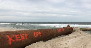 A dredge pipe set up on Ortley Beach, May 11, 2017. (Photo: Daniel Nee)