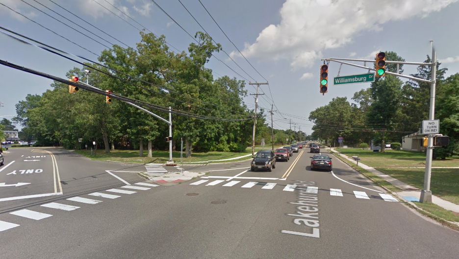 The intersection of Lakehurst Road and Williamsburg Drive. (Credit: Google Maps)