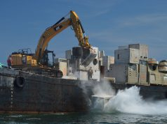 Structure is deployed into the ocean as part of the Manasquan Inlet Reef. (Photo: Daniel Nee)