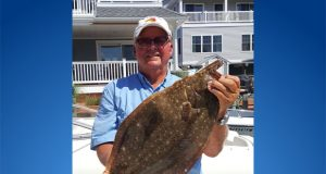 Local resident Mick Martino and his doormat fluke, caught off Lavallette, Aug. 2017. (Photo: Mick Martino)