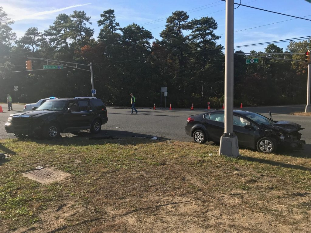 The scene of a crash which injured a Toms River woman, Oct. 2017. (Photo: Manchester Police Department)