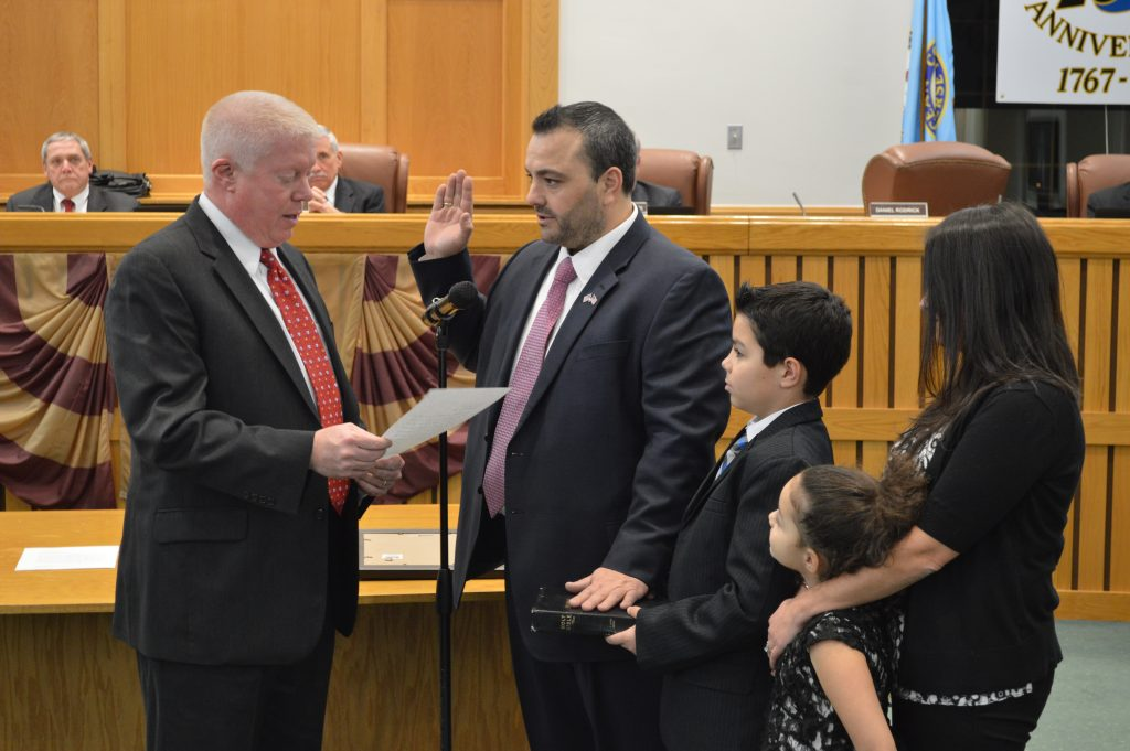 Toms River Councilman Daniel Rodrick is sworn into office by Brick Mayor John Ducey. (Photo: Daniel Nee)