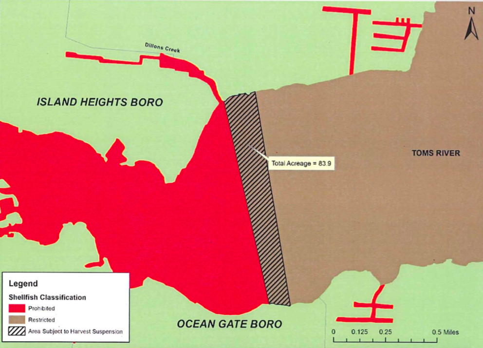 A portion of the Toms River no longer open to shellfishing. (Credit: NJDEP)