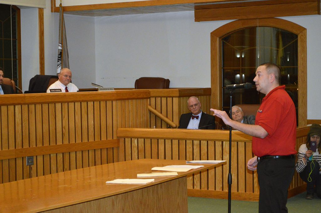 Hugh Giordano appeals to the Toms River Township council to reject an ordinance banning marijuana sales. (Photo: Daniel Nee)