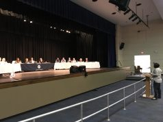 A parent addresses the Toms River Regional school board, March 27, 2018. (Photo: Daniel Nee)