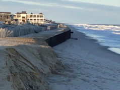 The sea wall in Brick Township is exposed, March 4, 2018. (Photo: Daniel Nee)