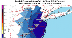 Snow potential during the March 6-8, 2018 nor'easter. (Credit: NWS)