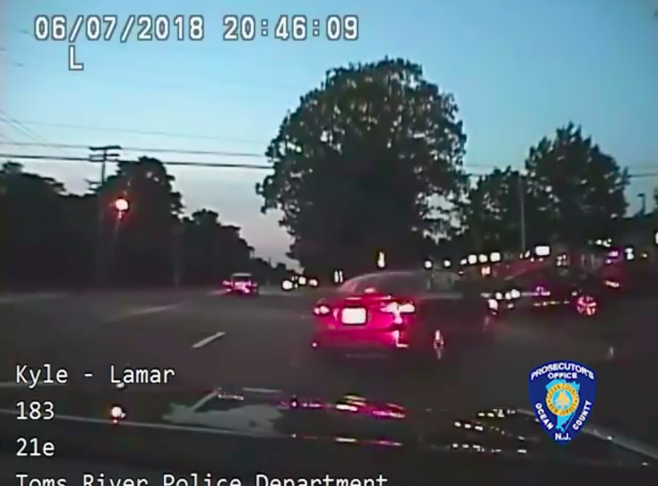 A vehicle flees a Toms River police officer, June 8, 2018. (Credit: OCPO)