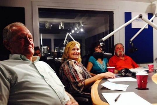 Ken Langdon (left) at the WOBM radio studios. (Photo: Townsquare Media via Jersey Shore Online)