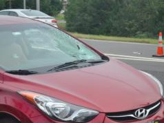 A car damaged in a pedestrian crash Sept. 11, 2018. (Photo: TRPD)