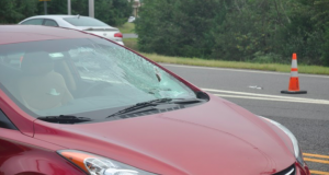 A car damaged in a pedestrian crash Sept. 11, 2018. (Photo: TRPD)