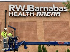 Signage is posted at the RWJ Barnabas Arena in Toms River. (File Photo)