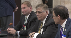Sheriff Michael Mastronardy testifies at a hearing on marijuana legalization, Nov. 26, 2018. (Credit: NJTV/Pool Feed)