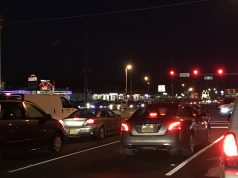SEA OF RED: Traffic backed up at the intersection of routes 37 and 166 in Toms River, Dec. 2018. (Photo: Daniel Nee)