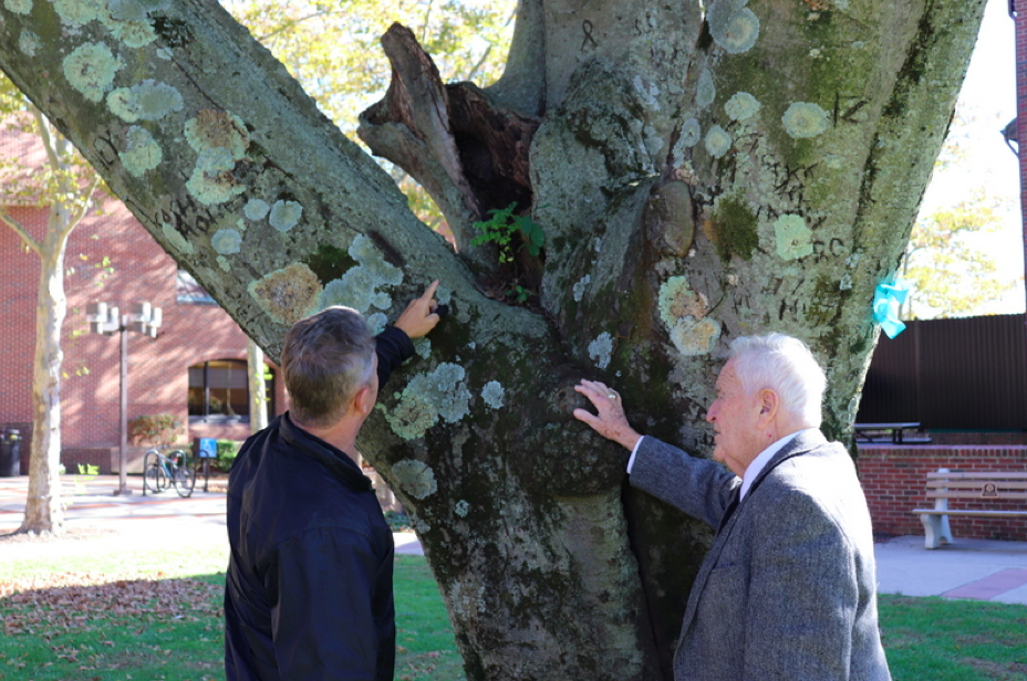 Craig Ambrosio, (left) director of the Parks, Buildings and Grounds department for the Township, shows Mayor Thomas F. Kelaher (right) the damage to the Beech tree.