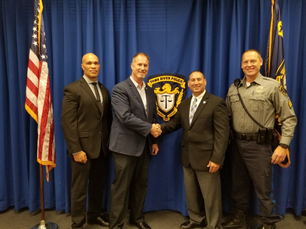 [Left to right] Toms River Police Captain Michael Belcher, Toms River Police Detective Mark Bajada (Creator of Operation Watchdog), Ring's Bradley Wentlandt, and Toms River Police Sergeant Gene Bachonski
