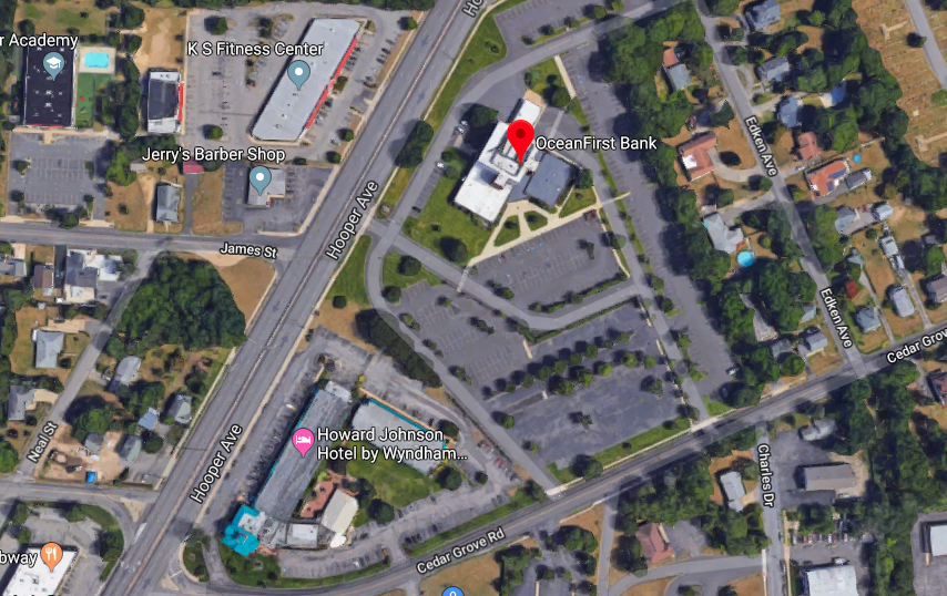 The location of OceanFirst Bank's headquarters in Toms River, N.J. (Credit: Google Maps)