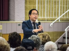 U.S. Rep. Andy Kim addresses a town hall meeting in Berkeley Township, Feb. 2019. (Photo: Daniel Nee)