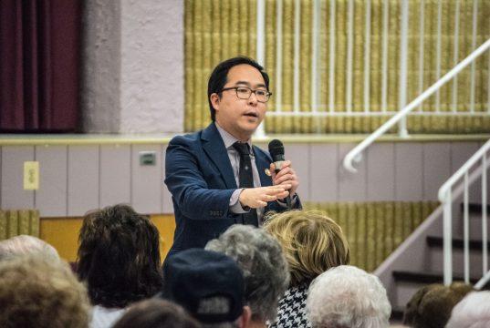 U.S. Rep. Andy Kim addresses a town hall meeting in Berkeley Township, Feb. 2019. (Photo: Daniel Nee)