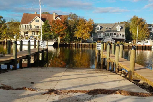 A new boat ramp along the Toms River is nearly complete, Oct. 2019. (Photo: Robert Chankalian)