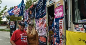 Rocky Granata and a supporter next to his Trump Re-Election RV parked in Brick, Oct. 2019. (Photo: Daniel Nee)