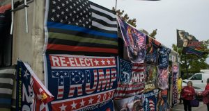 An RV promoting the re-election of President Donald Trump, which was involved in an accident on Oct. 14. (Photo: Daniel Nee)