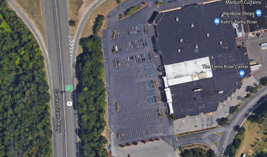 Toms River Center, located next to the Garden State Parkway, but invisible to drivers. (Credit: Google Maps)