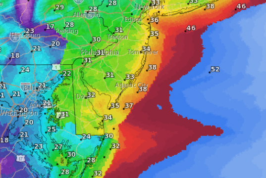 Forecast wind speeds Friday (in knots). (Credit: NWS)