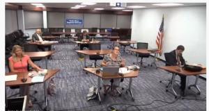 TRRS school board members appear virtually. (Screenshot)