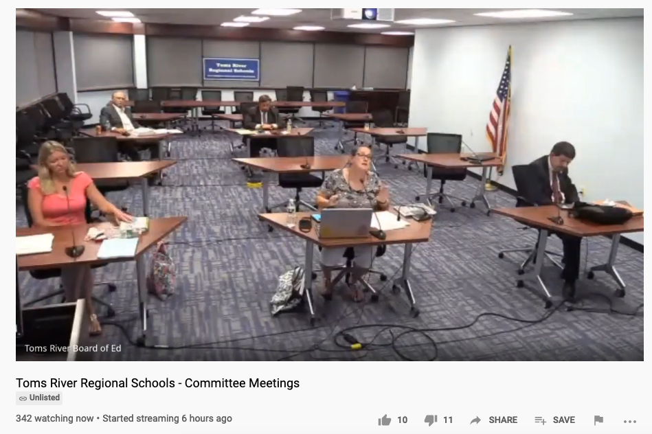 TRRS school board members appear virtually. (Screenshot)