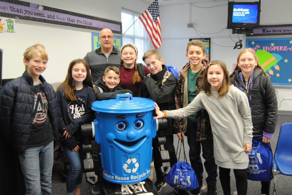 Kids visit with Rocky the Recycling Robot in Toms River. (Photo: Toms River Public Works)