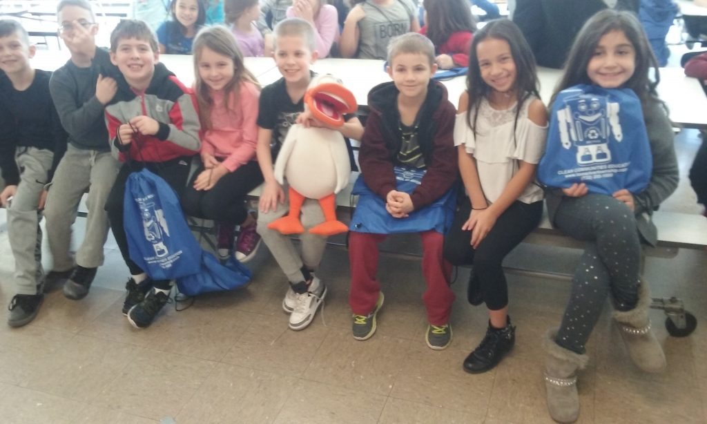 Kids visit with Tom the Duck in Toms River. (Photo: Toms River Public Works)