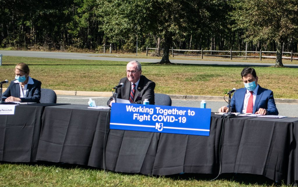 Gov. Phil Murphy meets with Ocean County and Orthodox Jewish leaders at the Ocean County Airport, Oct. 2, 2020. (Photo: Daniel Nee)