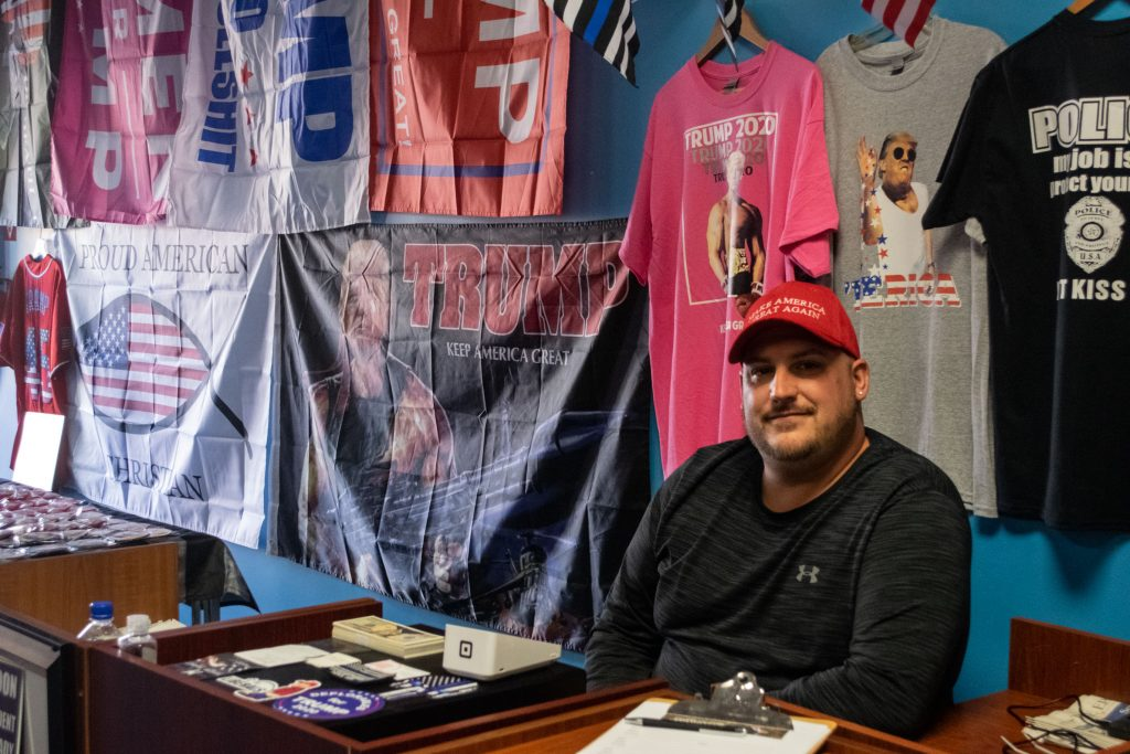 Justin Forster at his Trump Store in Toms River, N.J. (Photo: Daniel Nee)