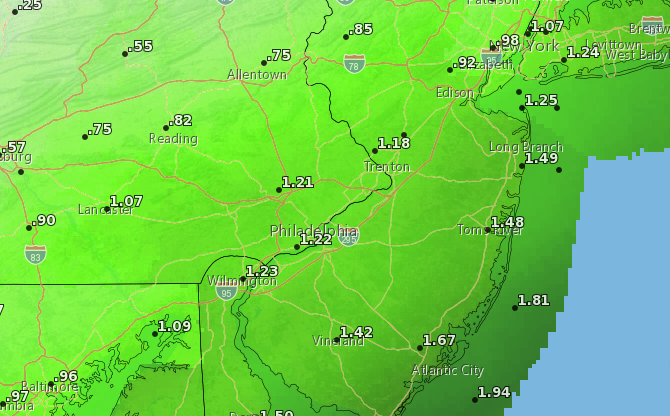 Rainfall totals by Saturday night. (Credit: NWS)