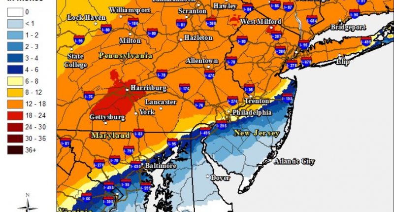 Forecast snow totals for the Dec. 16-17, 2020 nor'easter. (Credit: NWS)