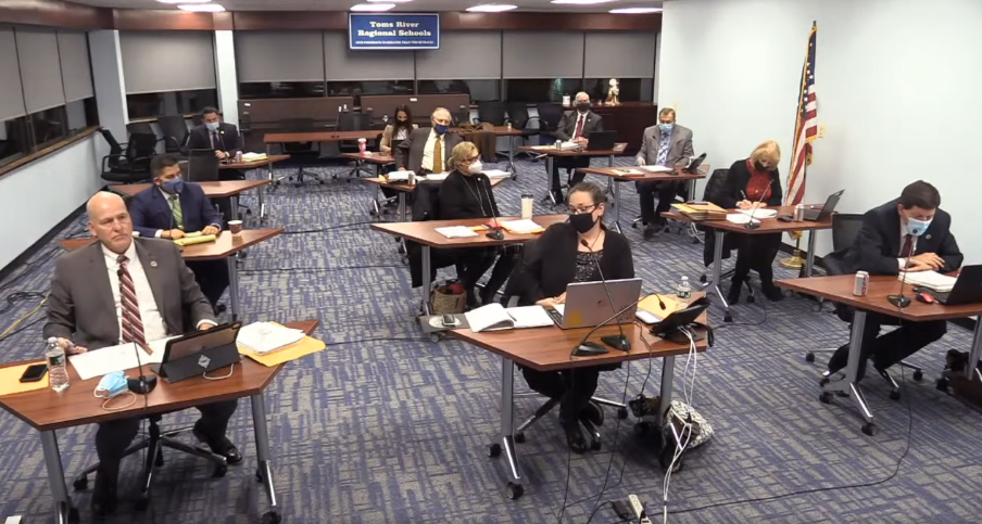 The Dec. 16 Toms River Regional school board meeting. (Screenshot)