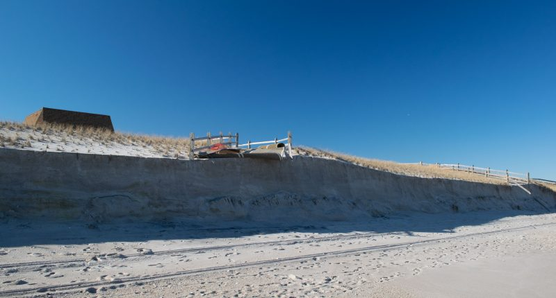 Dune damage and beach erosion following the Feb. 1-3, 2021 nor'easter. (Photo: Daniel Nee)