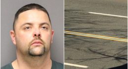 David Giordano (Photo: Ocean County Jail) and a blue line painted on Hooper Avenue. (Credit: Ocean County Scanner News)