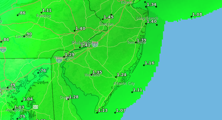 Forecast rainfall for Wednesday night, March 31, 2021. (Credit: NWS)